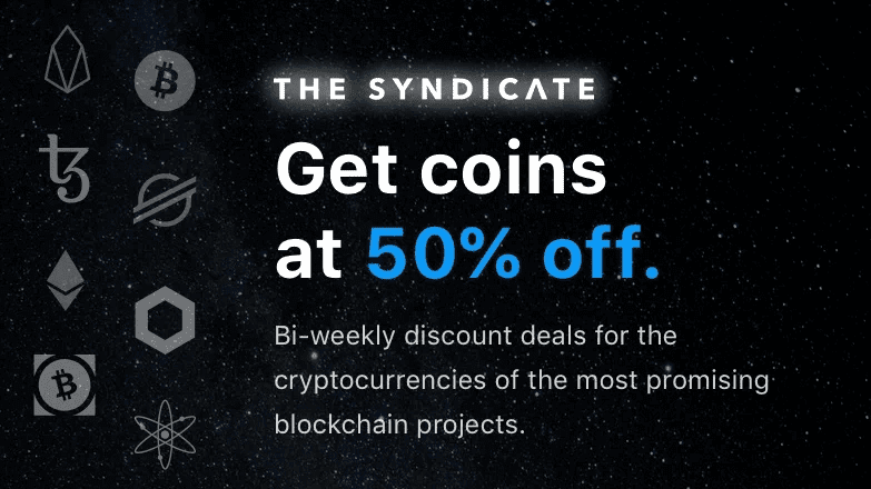 Crypto.com syndicate, get crypto with 50% off